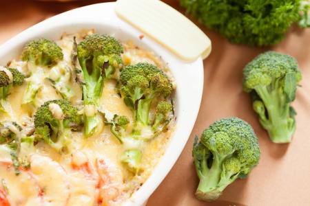broccoli baked with Parmesan, closeup