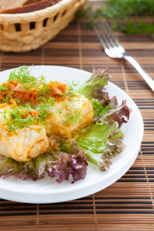 rice with meat wrapped in cabbage, roll closeup Stock Photo