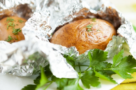 potatoes in foil, and in a jacket, close-up Stock Photo - 17873400