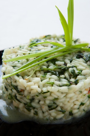 risotto with spinach and greens closeup, food photo