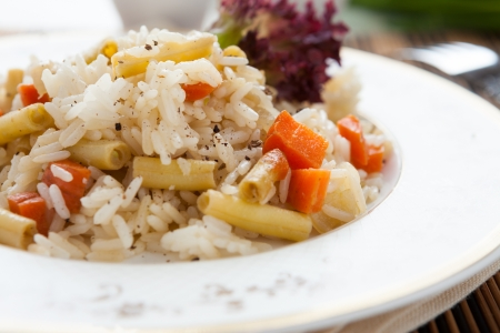 Boiled rice with vegetables, closeup Stock Photo - 18242323
