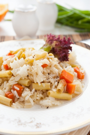 rice cooked with green beans and carrots, closeup Stock Photo - 18242324