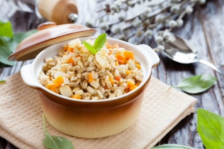 porridge prepared from pearl barley, closeup Stock Photo