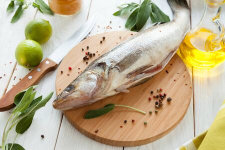 raw fish close-up on a cutting board, zander Stock Photo - 18500082