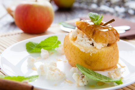 apple with curd and honey baked in the oven, closeup Stock Photo