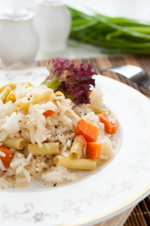 meatless: meatless risotto with vegetable mix, closeup