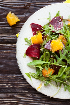 beet: fresh salad with beets and oranges, food Stock Photo