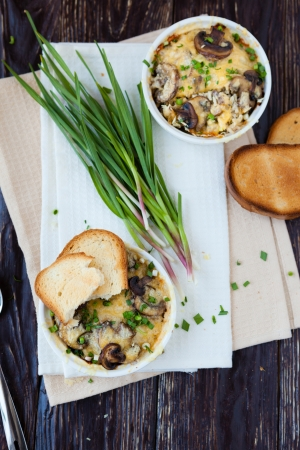 julienne: julienne mushrooms and garlic,  gratin