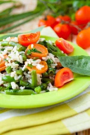 boiled rice with vegetables and herbs, closeup Stock Photo - 19417877