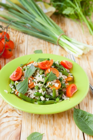 Vegetable risotto with carrots and green beans, food Stock Photo - 19417882
