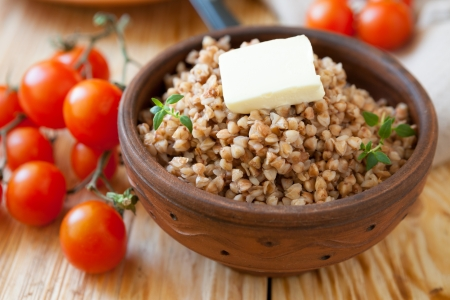 crumbly buckwheat with butter, food healthy