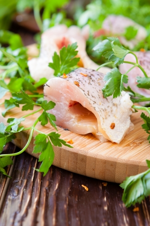 pieces of raw fillet of pike, food close up Stock Photo - 19760857