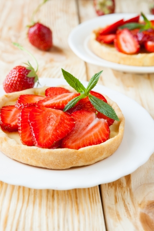 crispy tartlet with sweet strawberry dessert, food close up Stock Photo