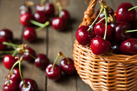 Ripe cherries in wicker basket basket, food close up photo