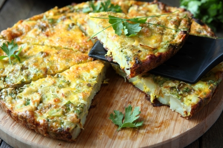 omelette: Italian Frittata with slices of fresh greens, food