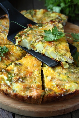 vegetable pie with eggs, food close up Archivio Fotografico