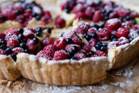 blueberry pie with raspberries, food close up
