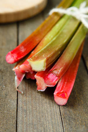 rhubarb: bundle of stalks of rhubarb, food close up