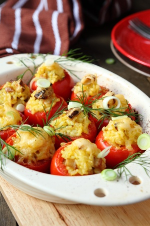 baked tomatoes with rice, food close up