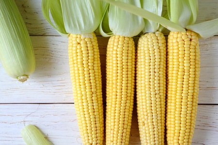 fresh raw sweet corn, food close up Stock Photo