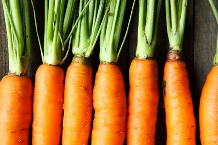 carrots: zanahorias frescas crudas con colas, vista desde arriba