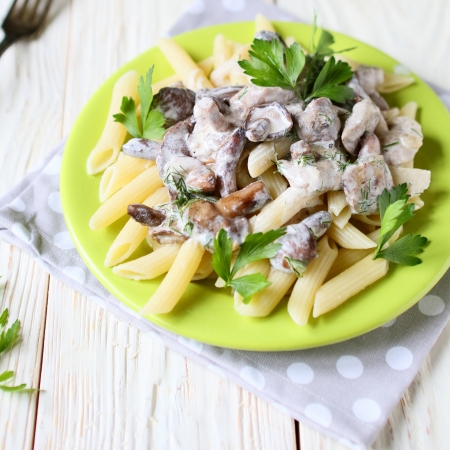 penne pasta with mushrooms and sauce, food photo