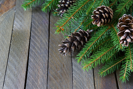 branches of spruce and pine cones on the boards, xmas photo