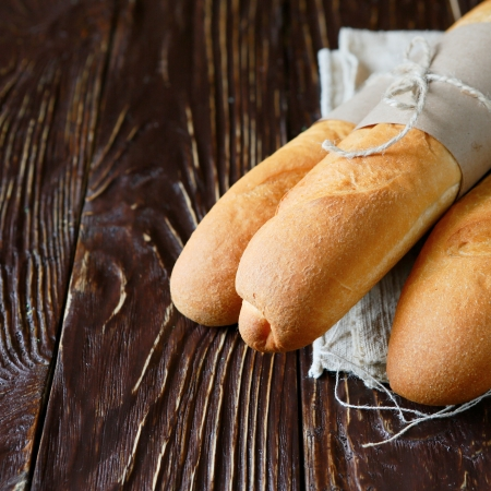 freshly baked French baguette, food photo