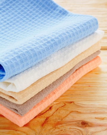 toweling: kitchen textiles on the table, towel Stock Photo