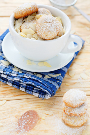 almond cookies in a white cup, food close up photo