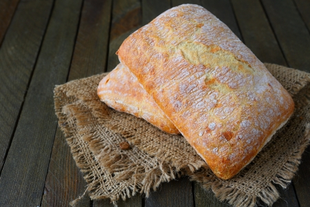 Two freshly baked ciabatta, food closeup