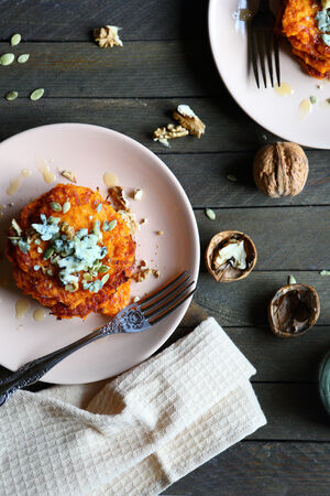 pumpkin seed: delicious rustic pumpkin pancakes, top view, food