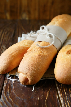 fresh crispy French bread, food close up photo