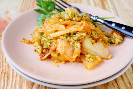 Italian risotto with cabbage, food closeup photo