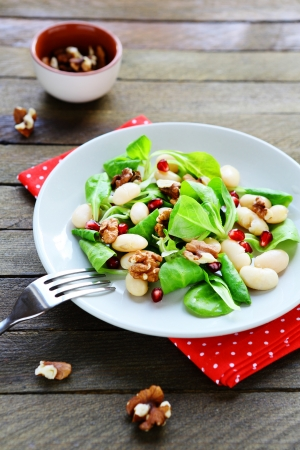 winter salad with white beans, food closeup