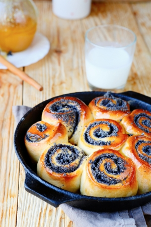 delicious buns with milk, food closeup photo