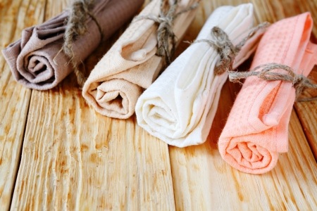 toweling: colored cotton towels for the kitchen, textile