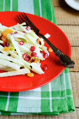 salad of apple and celery, food closeup photo