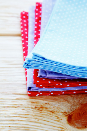 stack of napkins with polka dots, textile photo