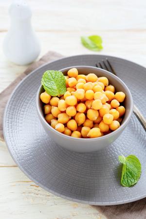 garbanzo bean: chickpeas in a bowl, food Stock Photo