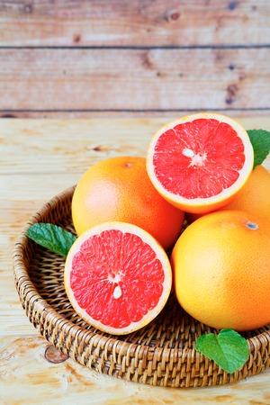 half cut: ripe grapefruit halves, food closeup