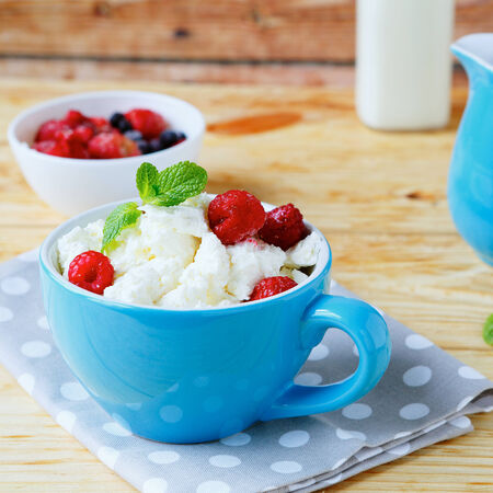 cottage cheese and ripe berries, food closeup photo