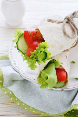 salad in pita, food photo