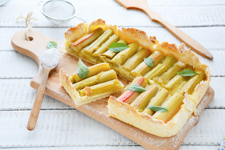 square tart with rhubarb, summer food photo