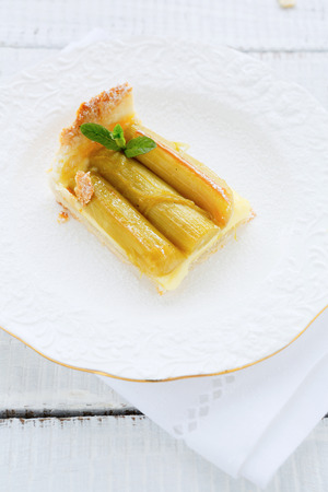 slice of tart with rhubarb, food photo