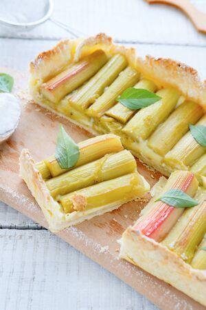 crisp tart with rhubarb, food closeup photo