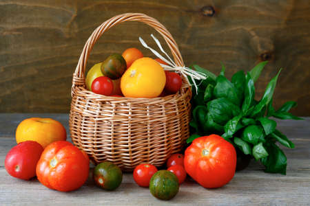 tomato harvest in a basket, food closeup photo