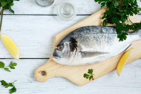 the dorada: Dorade with parsley and lemon pepper, seafood Stock Photo