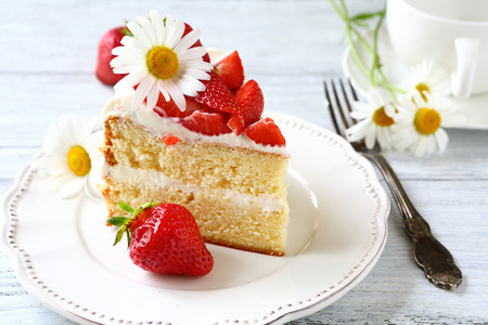 Piece of delicious cake on a white plate, strawberry