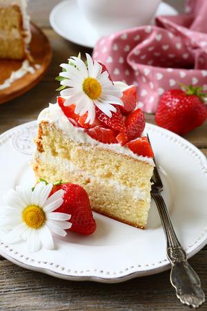 Sweet piece of cake, tasty food photo
